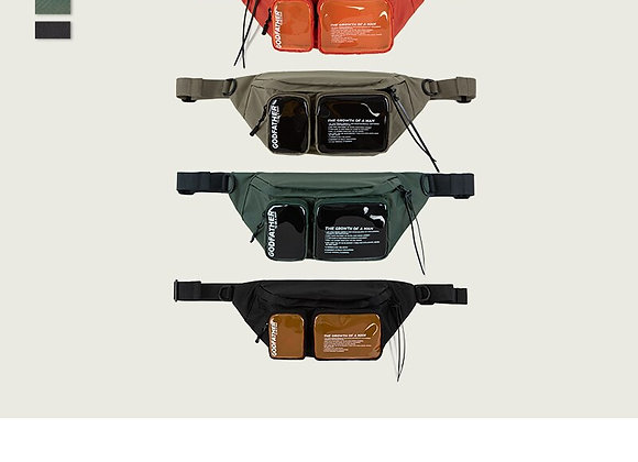 Multi-Pocket Double Zipper Streetwear Waist Bag