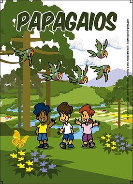 História em quadrinhos sobre papagaios-de-peito-roxo