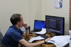 TA Sluis working in 3D AutoCAD