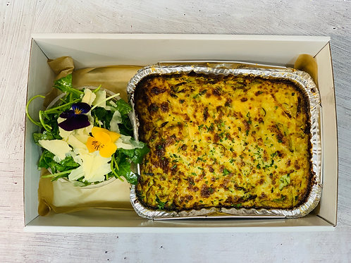 "Staff Meals - Zucchini ""Noodle"" bake & Salad"