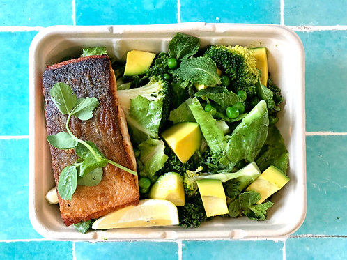 Salmon Fillet Greens Salad Power Bowl