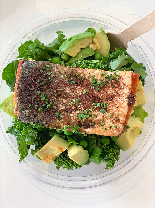 Salmon Fillet Greens Salad Power Bowl