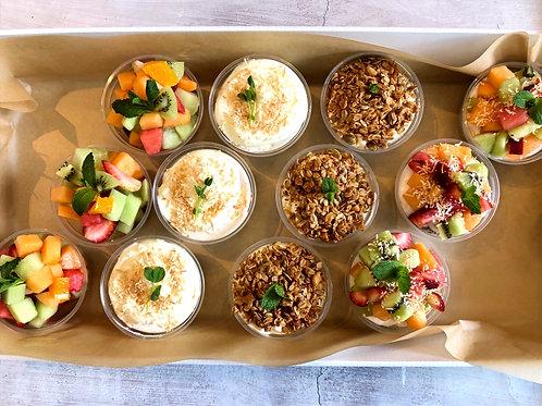 Assorted Cups (12 cups ) Yoghurt / Bircher / Fruit / Vegan chia cup