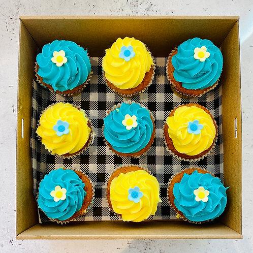 BLUE & YELLOW FLOWER CUPCAKES (BOX9)