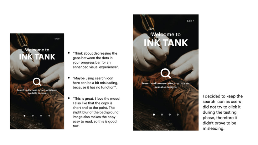 Onboarding: comments and improvements