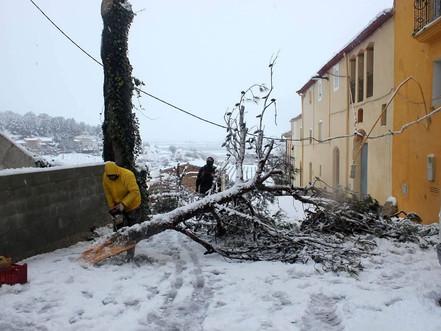 La brigada municipal treballa de valent durant la nevada
