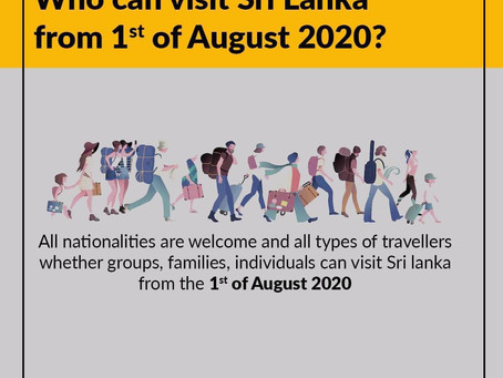 Post Covid-19 (1) - Who can visit Sri Lanka from 1 Aug 2020