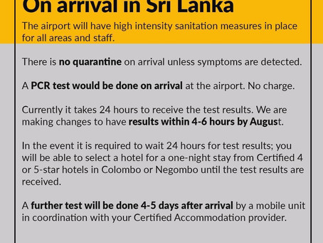 Free PCR tests on arrival in Sri Lanka from 1st Aug 2020