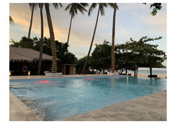 pool view sunset