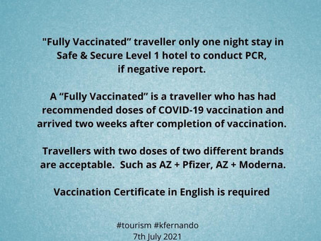 Good news for fully vaccinated travelers to Sri Lanka