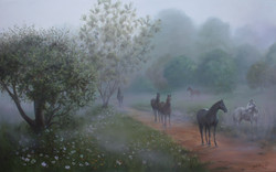 Horses in the mist - Kaapsehoop