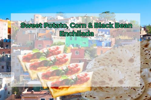 Sweet Potato, Black Bean & Corn Enchilada