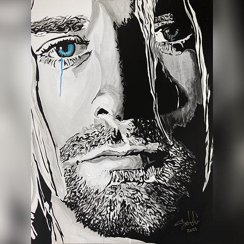 Kurt Cobain crying