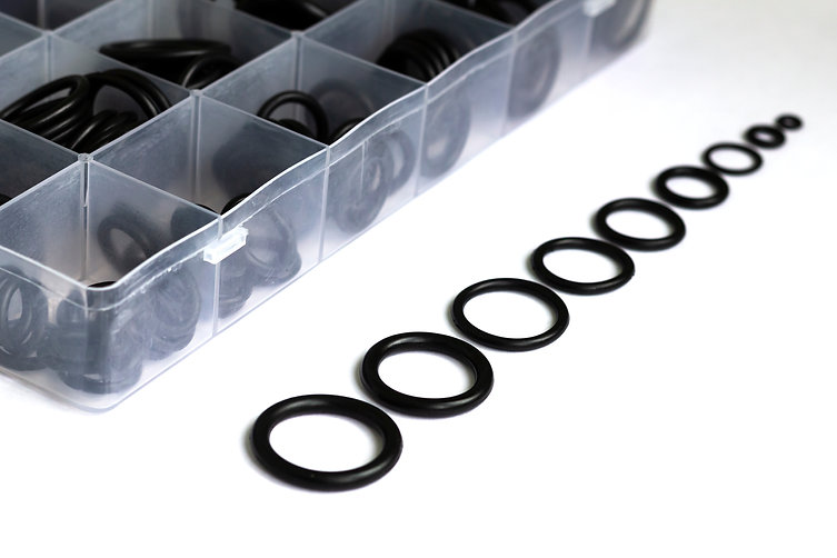A set of rubber sealing gaskets. Rubber
