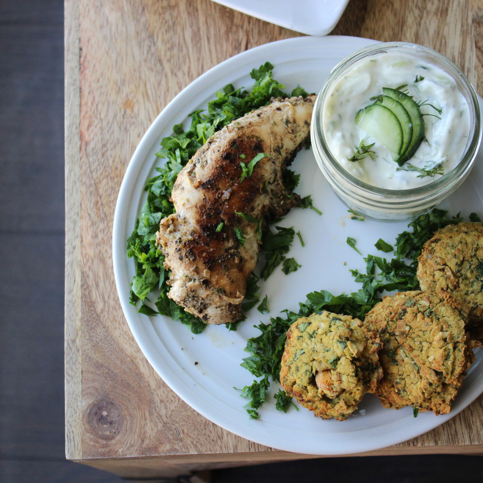 Greek Chicken + Falafel