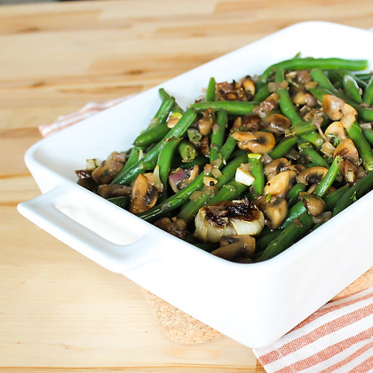 Green Beans with Mushrooms + Cipollini Onions