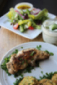 Greek Chicken Tenders, Falafel, Greek Salad, Tzatziki