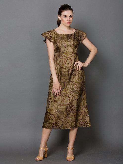 Шелковое платье длинное цвета хаки
