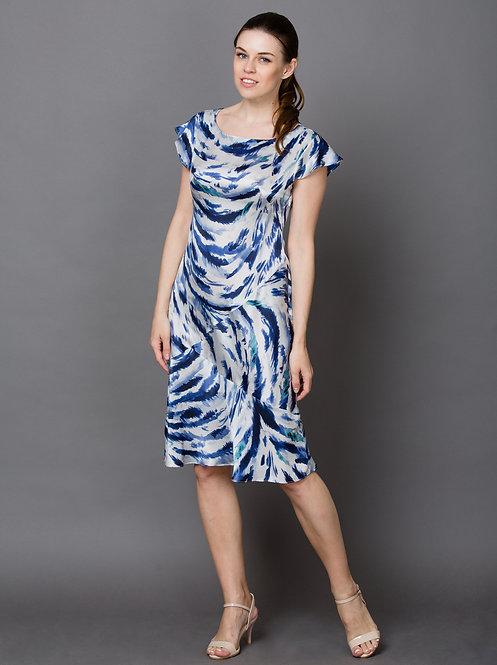 Шелковое платье белое с синим