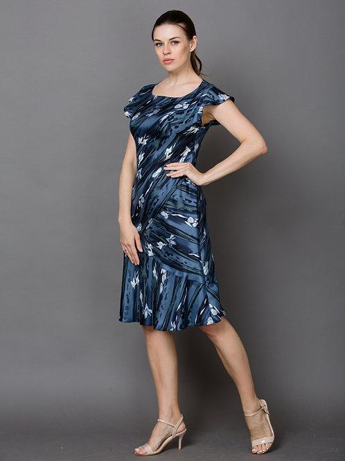Шелковое платье серо-голубое