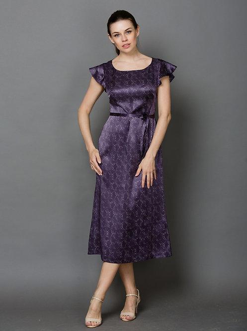 Длинное шелковое фиолетовое платье