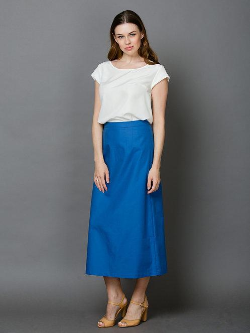 Длинная синяя юбка из хлопка