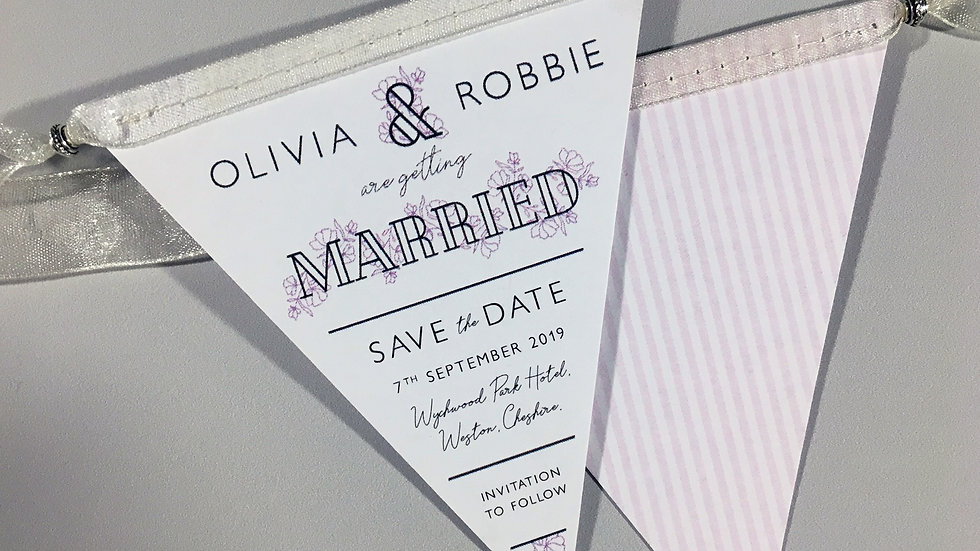 Dainty Floral Mini Bunting Save the Date