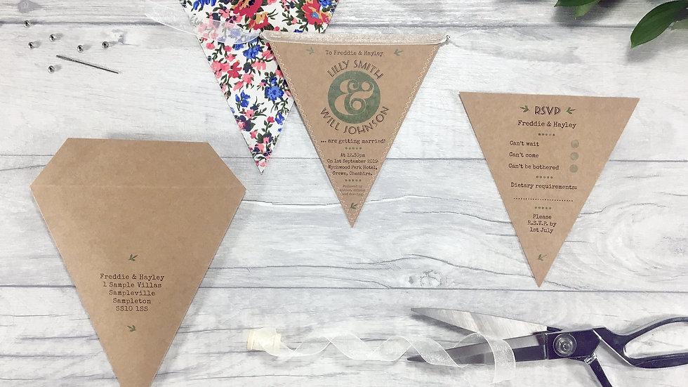 Classic Rustic Leaf Kraft Wedding Invitation