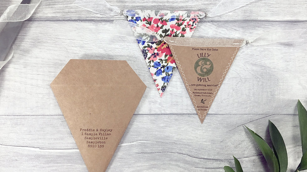 Rustic Leaf Kraft Mini Bunting Save the Date