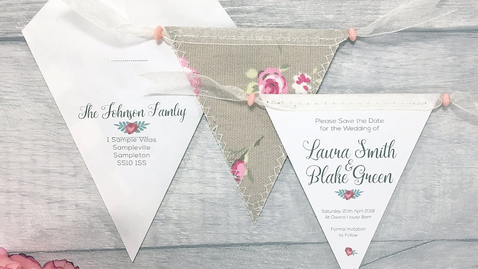 Vintage Rose Mini Bunting Save the Date