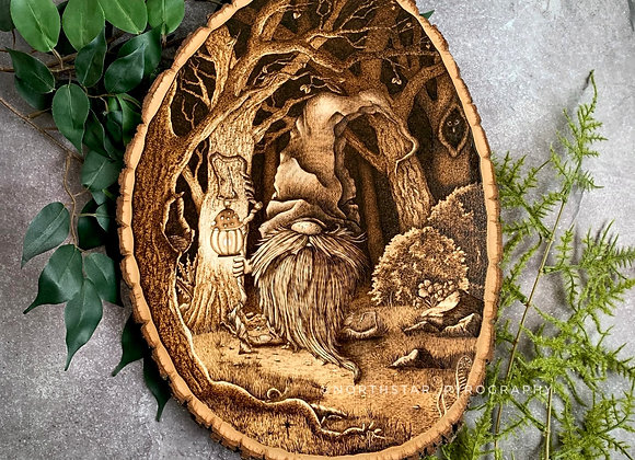 Woodburned Gnome of the Forest