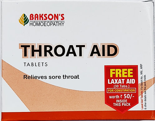Bakson Throat Aid Tablets Free Laxat Aid 30 Tabs For Constipation  Pack of 3