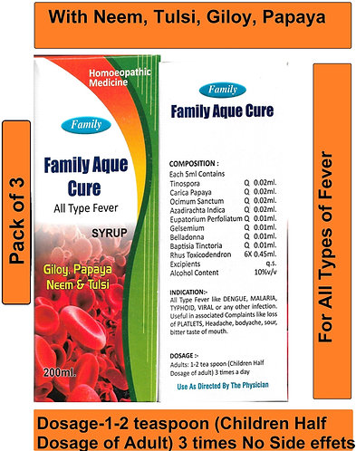 Family Aque Cure Syrup For All Type Fever with Giloy, Papaya, Neem & Tulsi