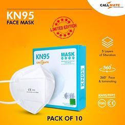 Callmate Meltblown Kn 95 With Nose Strip ( Pack of - 10)