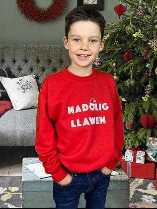 Santa Hat Nadolig Llawen Sweatshirt