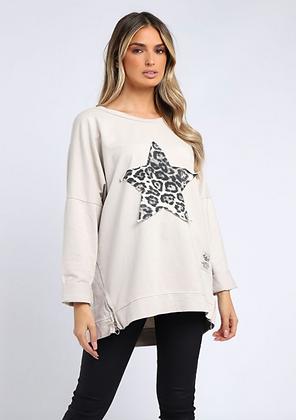Leopard Star Zip Sweatshirt