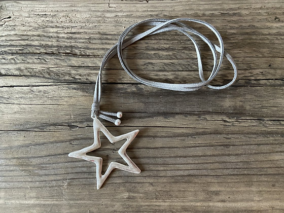 Star Pendant on Long Grey Suede Necklace