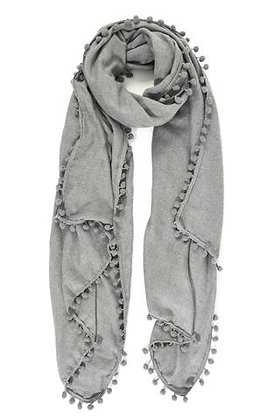 Grey Scarf with Pompom Edge