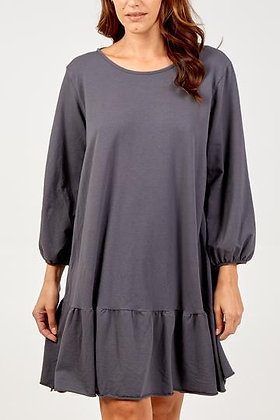 Grey Scoop Back Frill Hem Tunic