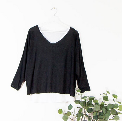Two-Piece ¾ Sleeve Batwing Top with White Undervest and Silver