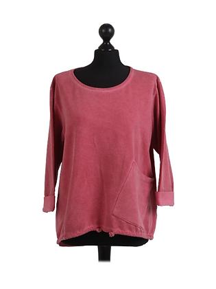 Vintage Wash Drawstring Bottom Pocket Sweatshirt