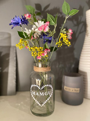 Personalised Wild Flowers in Glass Vase
