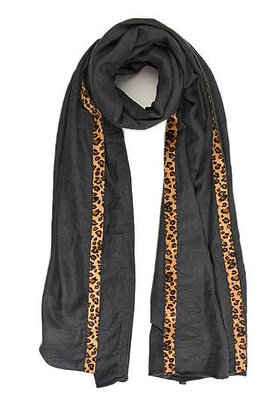 Black Scarf with Leopard Print Edge