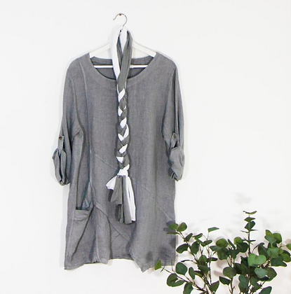 Linen Tunic with Big Pocket and Scarf