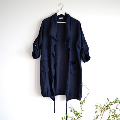 ¾ Length Linen Jacket with Draw String and Pockets