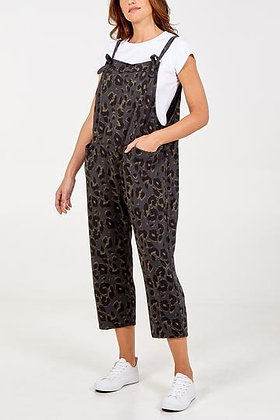 Leopard Print Jersey Dungarees
