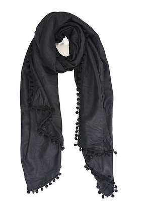 Black Scarf with Pompom Edge