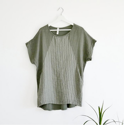 Linen Front Jersey back top with Subtle Silver Stripe and Invisible