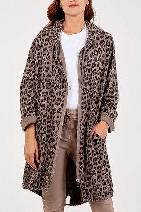 Leopard Zip Hooded Long Jersey Jacket
