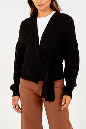 Black Wrap Front Knitted Cardigan